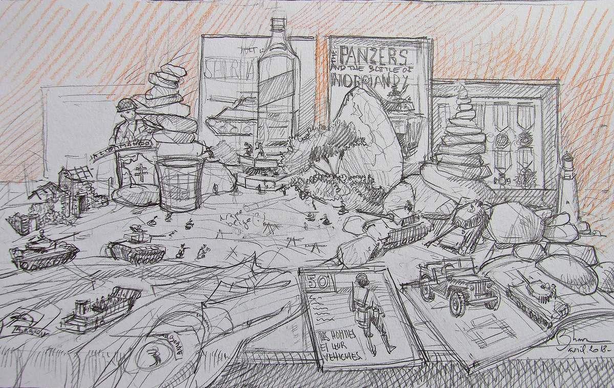 Ces dessins préparatoires permettent de donner une direction au tableau à venir et, souvent, de valider avec mon commanditaire le projet définitif.