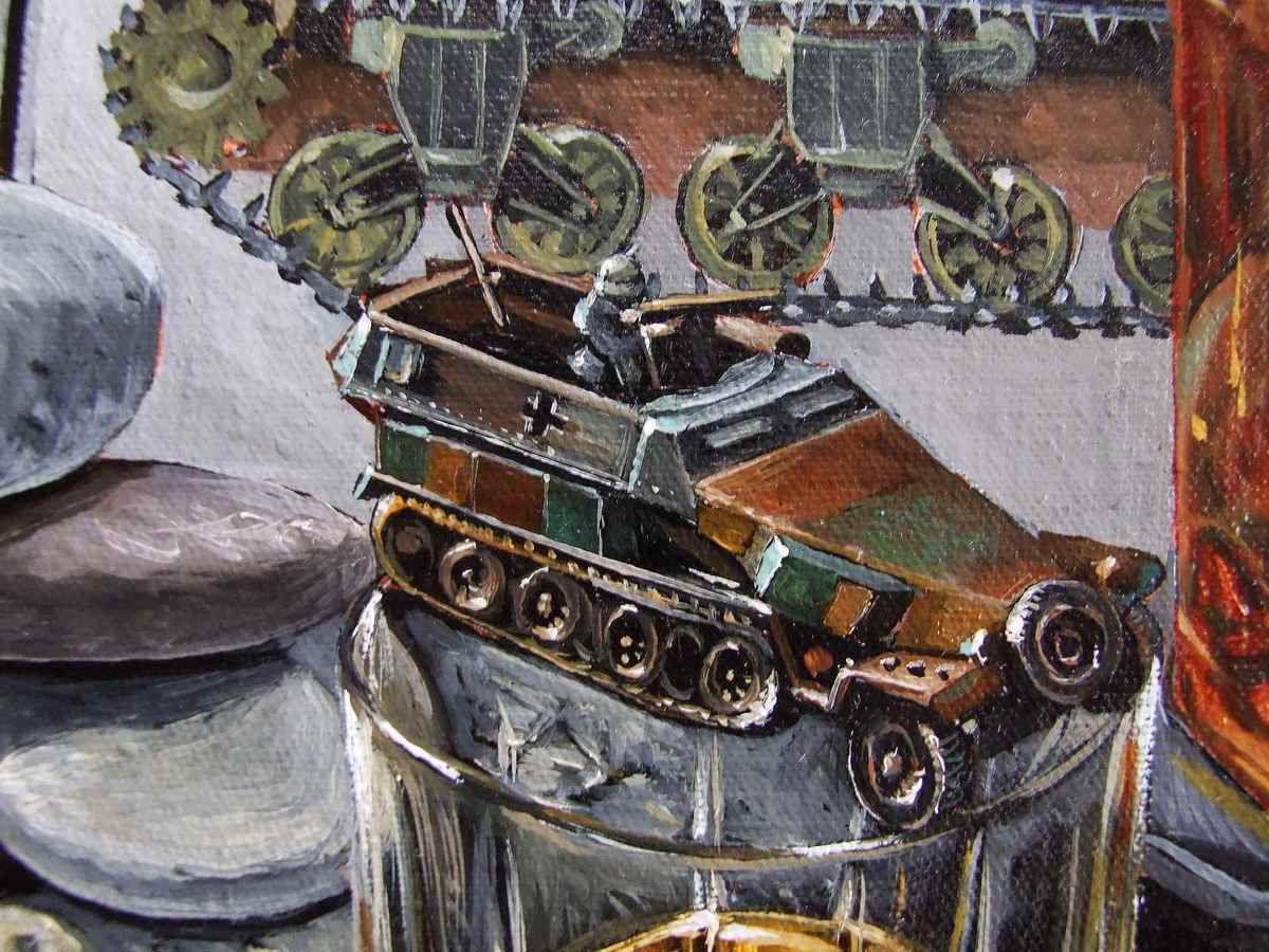 """""""Nature morte D-Day, WW II, le débarquement"""" Détails remplis de véhicules qui font bouger la nature morte! Huile sur Toile 90x110 Bhavsar"""
