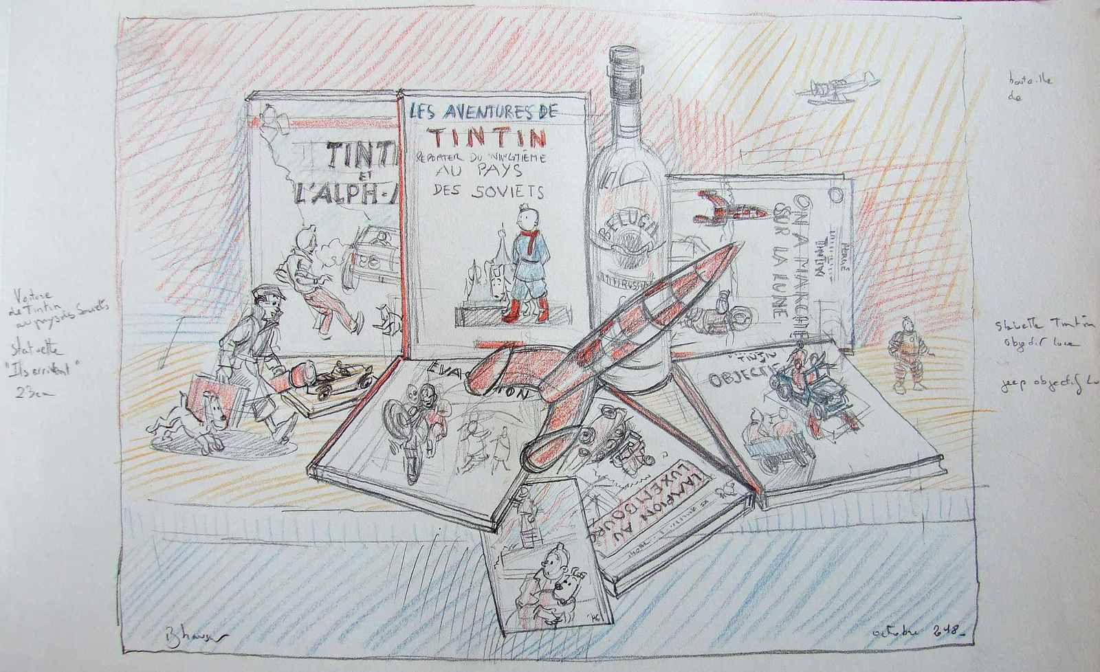 """Dessins préparatoires  Nature morte BD """"Tintin URSS-Lampion"""" crayons sur papier 21x30 Bhavsar"""