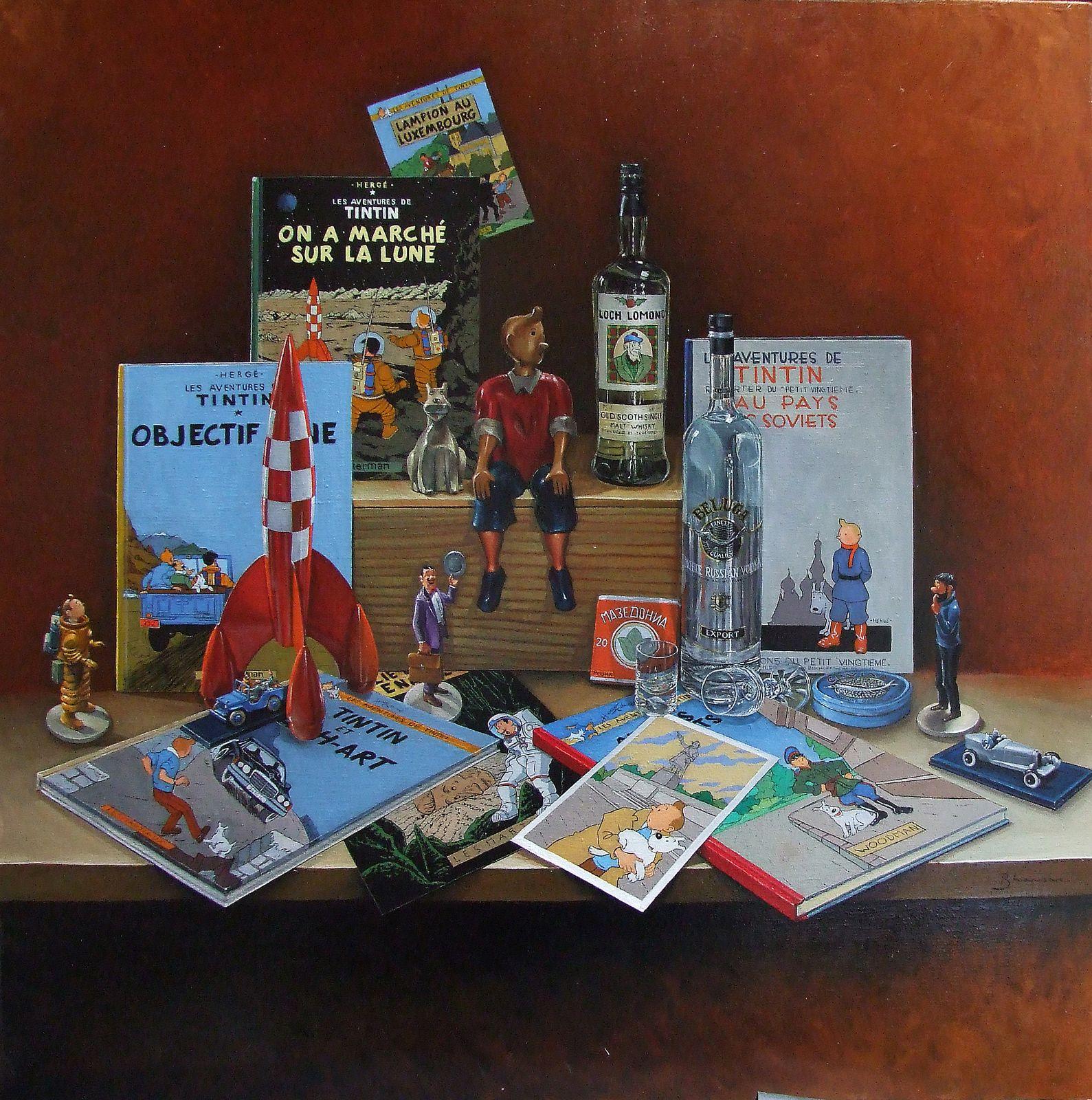 "Nature morte BD ""Tintin URSS-Lampion"" Huile sur toile 100x100 definitif Bhavsar"