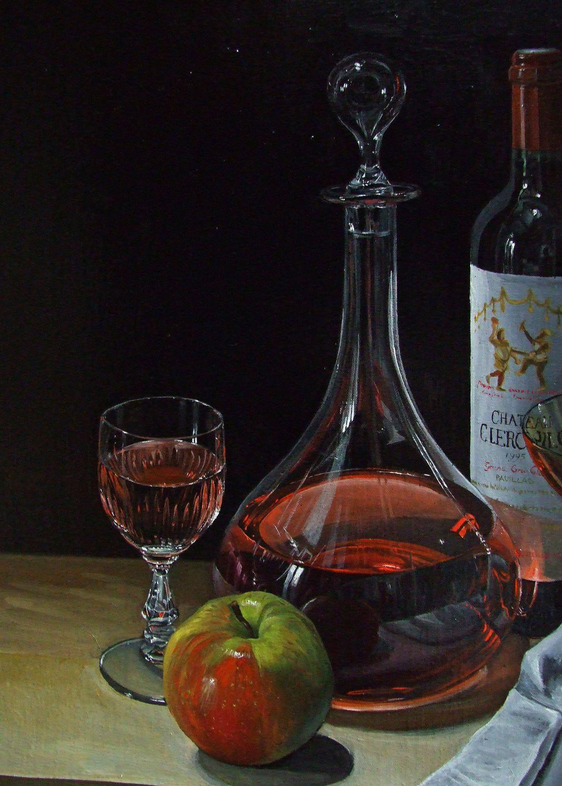 Nature morte à la carafe de vin Détails Huile sur toile 50x61 Bhavsar