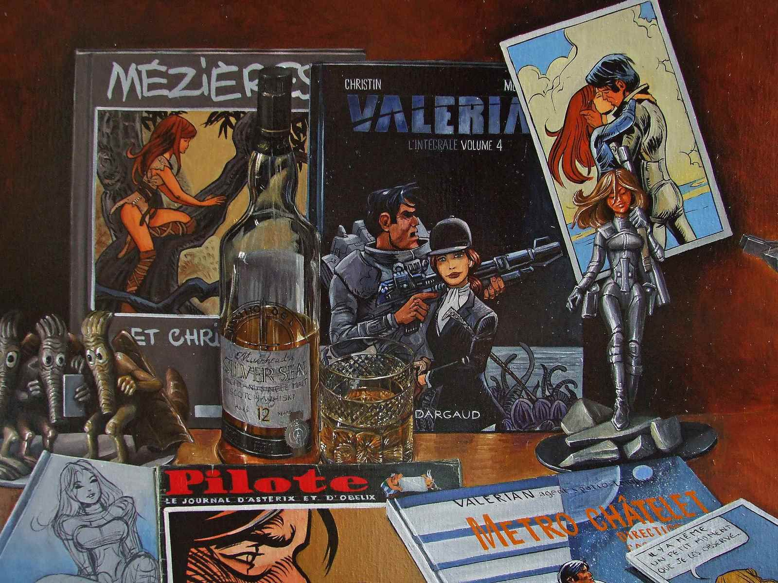 Nature morte BD Valerian et Laureline Détails The French Kiss. Huile surToile 62X92 Bhavsar