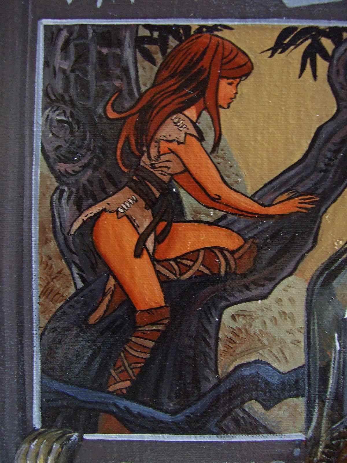 Nature morte BD Valerian et Laureline Détail, Laureline en tenue légère. Huile sur Toile 62X92 Bhavsar
