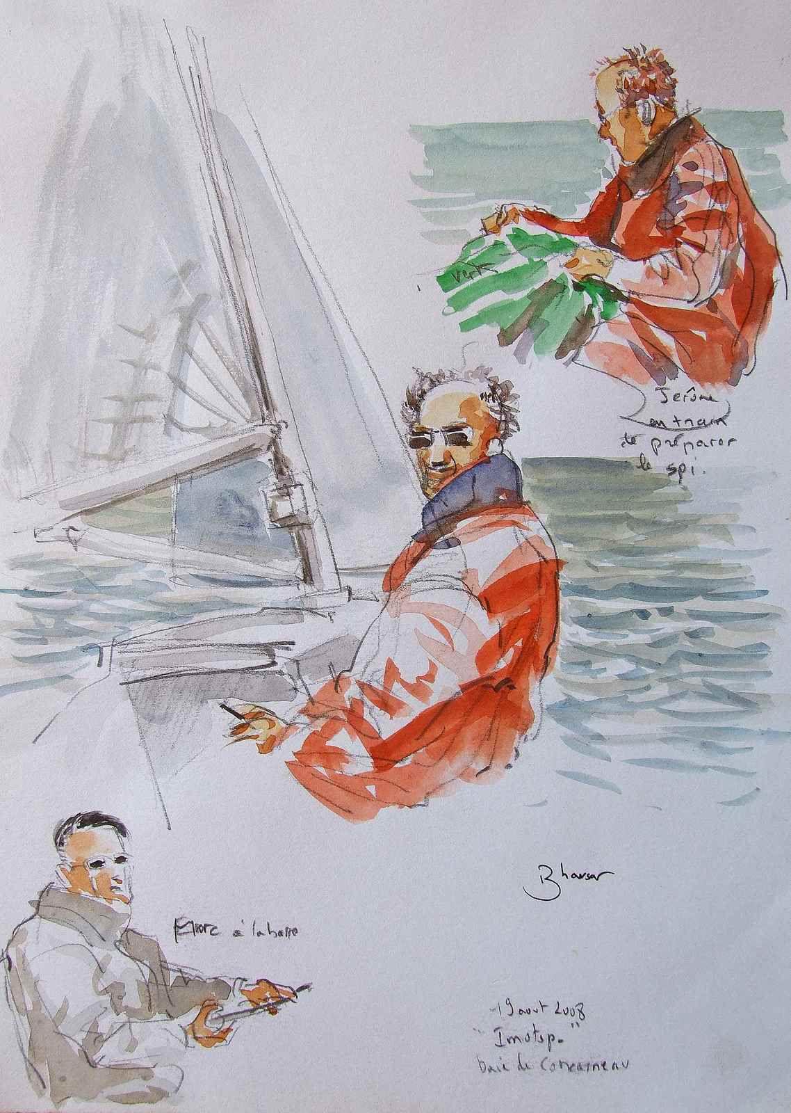 Bretagne sortie sur le bateau de Bernard  Crayon et aquarelle  21x29 août 2008 Bhavsar