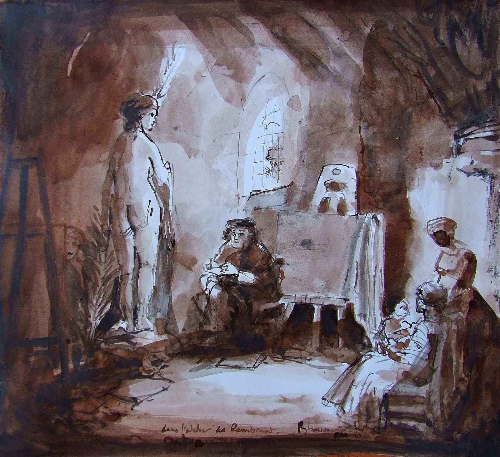 Atelier de Rembrandt 37x42 Lavis sépia sur papier   Dessin librement inspiré de Rembrandt   Bhavsar