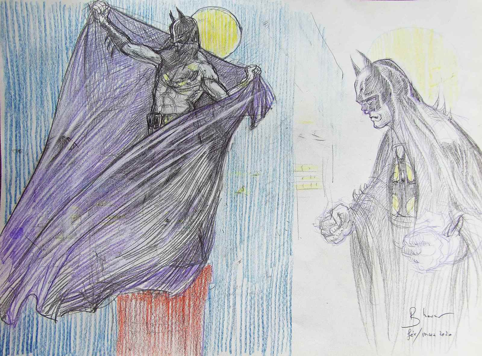 """Dessin préparatoire12  """"Batman veille le mammouth"""" Crayons sur papier 21x30 Dessin préparatoire13 Crayons sur papier 21x60 Bhavsar"""