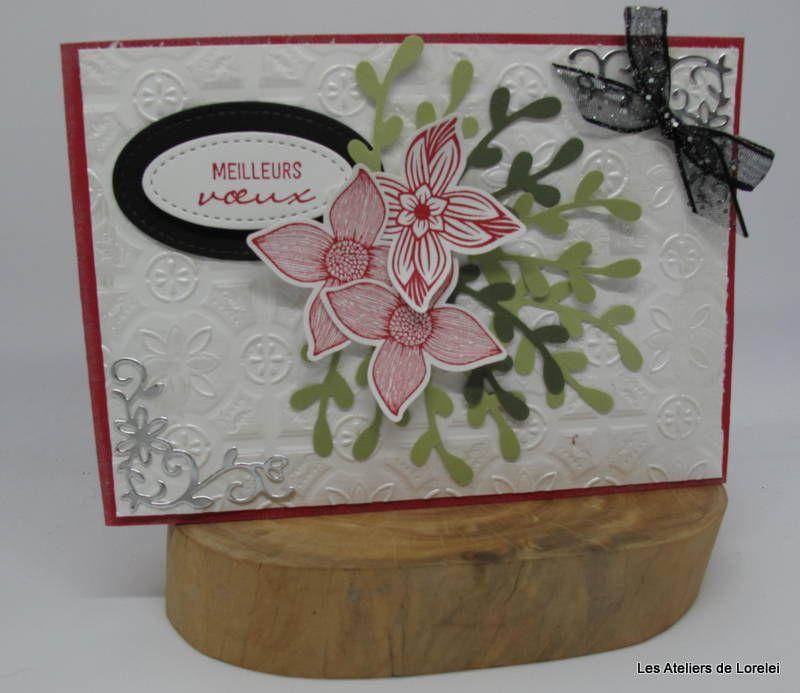 Voeux fleuri avec perforatrice branchette stampin up!
