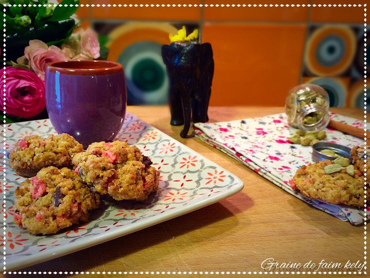 Bollywood Cookies à la cardamome et éclats de praline rose