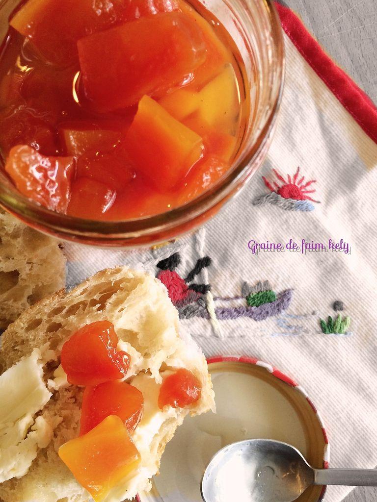 Confit de papaye au rhum-vanille