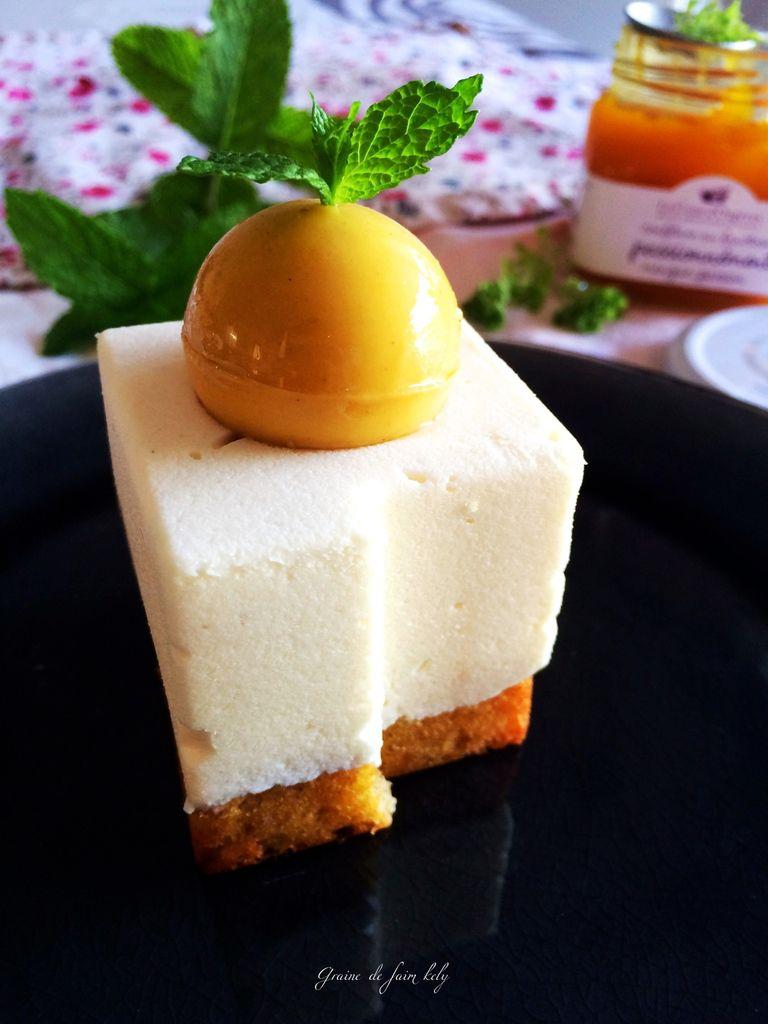 Entremets tonka ivoire - sphère de crémeux vanille mangue passion