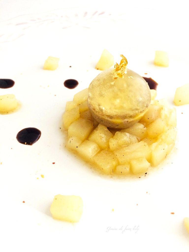 Délice de foies de volaille au Riesling, gelée de Sauternes et sa brunoise de poires