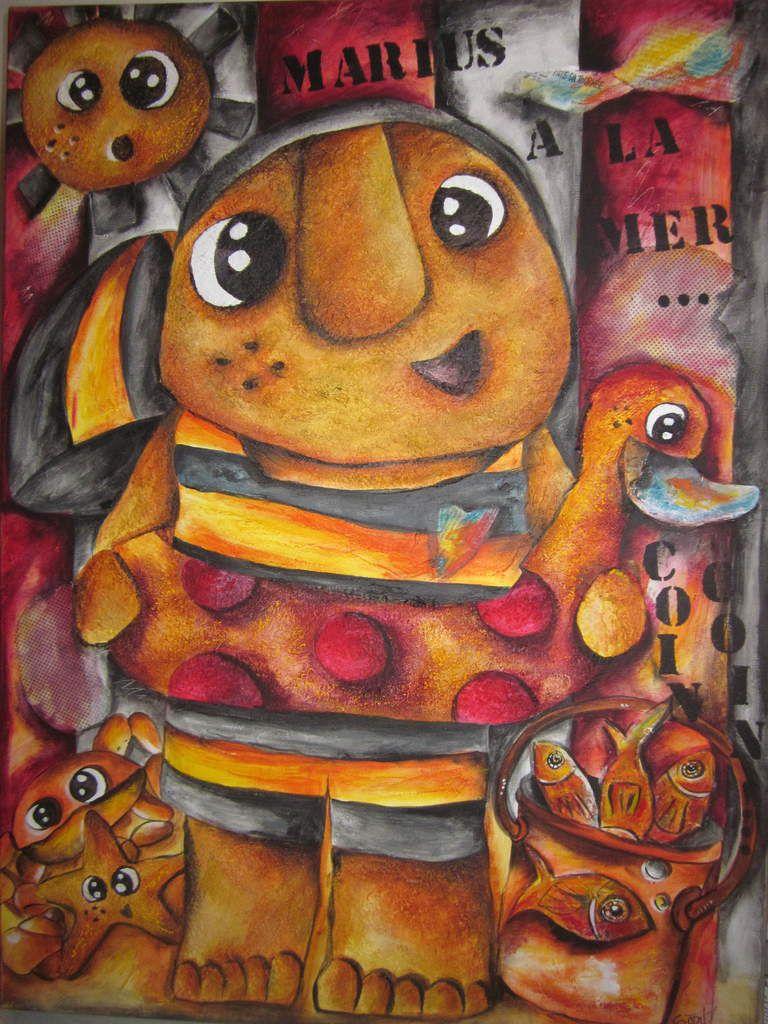 """Tableau"""" Marius à la mer!"""" 50 x 70 cm. Techniques mixtes. Acrylique, enduit, pastels gras, collages..."""