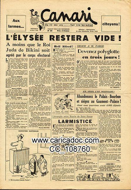 «L'Élysée restera vide», Le Canari, 15/11/1946.