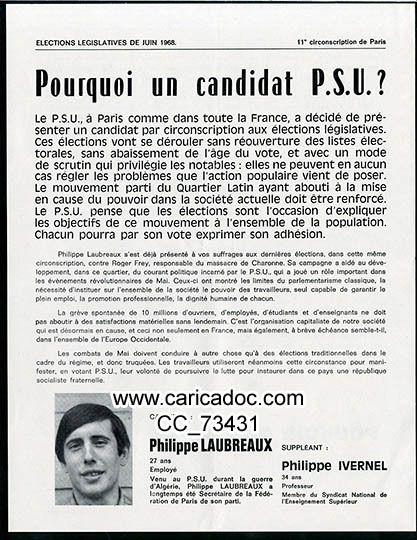 «Pourquoi un candidat PSU ?», tract, 1968.