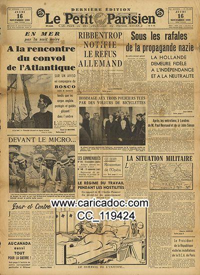 «A la rencontre du convoi de l'Atlantique Ribbentrop notifie le refus allemand Sous les rafales de la propagande nazie», Le Petit Parisien, 22/11/1939.