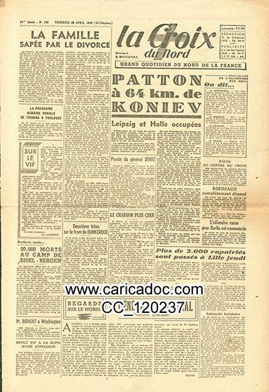 «Patton à 64 km de Koniev Divorce», La Croix du Nord, 20/4/1945.