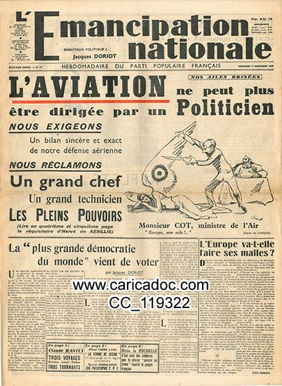 « L'aviation ne peut plus être dirigée par un Politicien Jacques Doriot Parti Populaire français », L'Emancipation nationale, 17/12/1937.