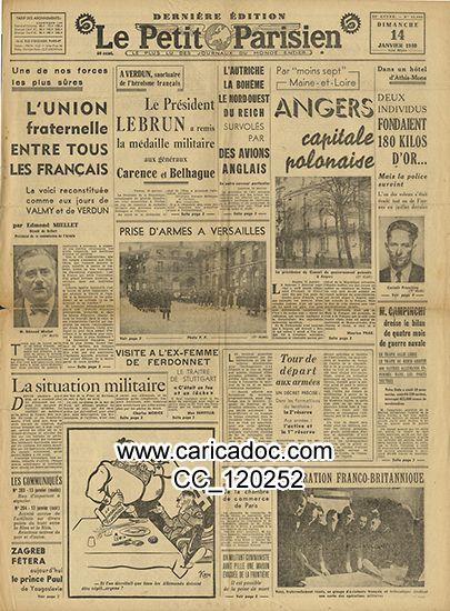 «Union fraternelle Président Lebrun Albert Angers capitale polonaise», Le Petit Parisien, 14/1/1940.
