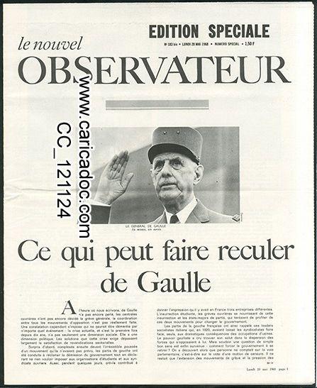 «Ce qui peut faire reculer de Gaulle», Nouvel observateur, 20/5/1968.