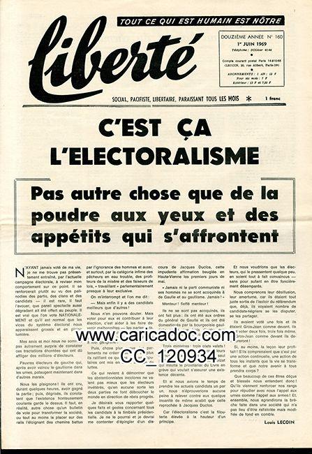 «C'est ça l'électoralisme», Liberté social, pacifiste, libertaire, 5/1969.