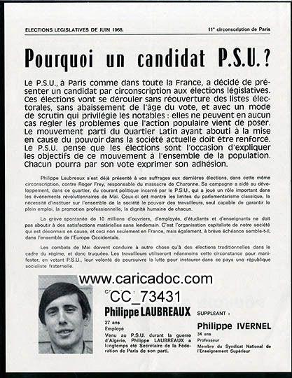 TRACTS : Mai 68, mouvement de mai, législatives de juin 1968 : en tracts, flyers, tracts sndicaux, tracts politiques, motions, syndicats, partis, comitiés de quartier, sorbonne, étudiants, lycéens, CET, contestation, cgt, cfdt, fo, parti communiste, gauchistes, concorde, bulletins de vote, candidats centristes, candidats gaullistes, candidats communistes,, unef