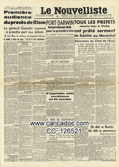 «Tous les préfets réunis hier à Vichy ont prêté serment de fidélité au Maréchal Pétain», Nouvelliste de Lyon, 20/2/1942.