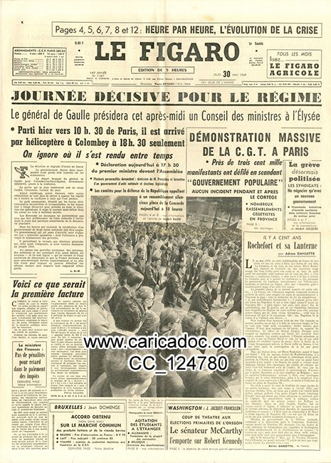 Charles de Gaulle : journaux, affiches, dessins, revues, périodiques (classement chronologique) newspapers, cartoons