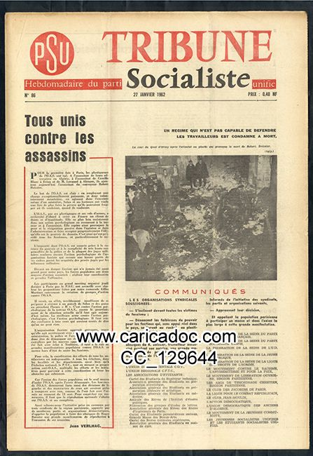 PSU, parti socialiste unifié Tribune socialiste