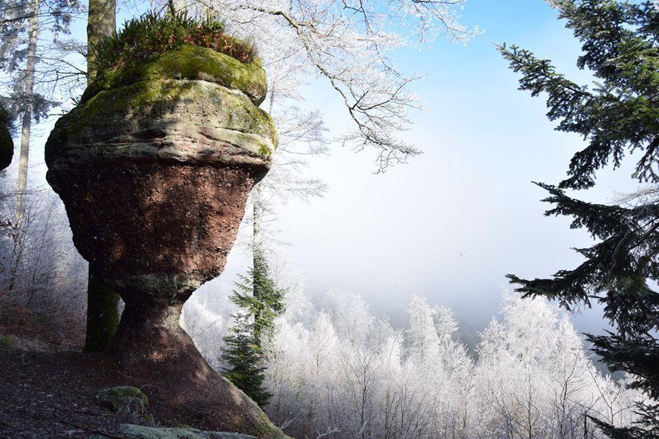 Le Kelchfels entre ciel bleu et brouillard
