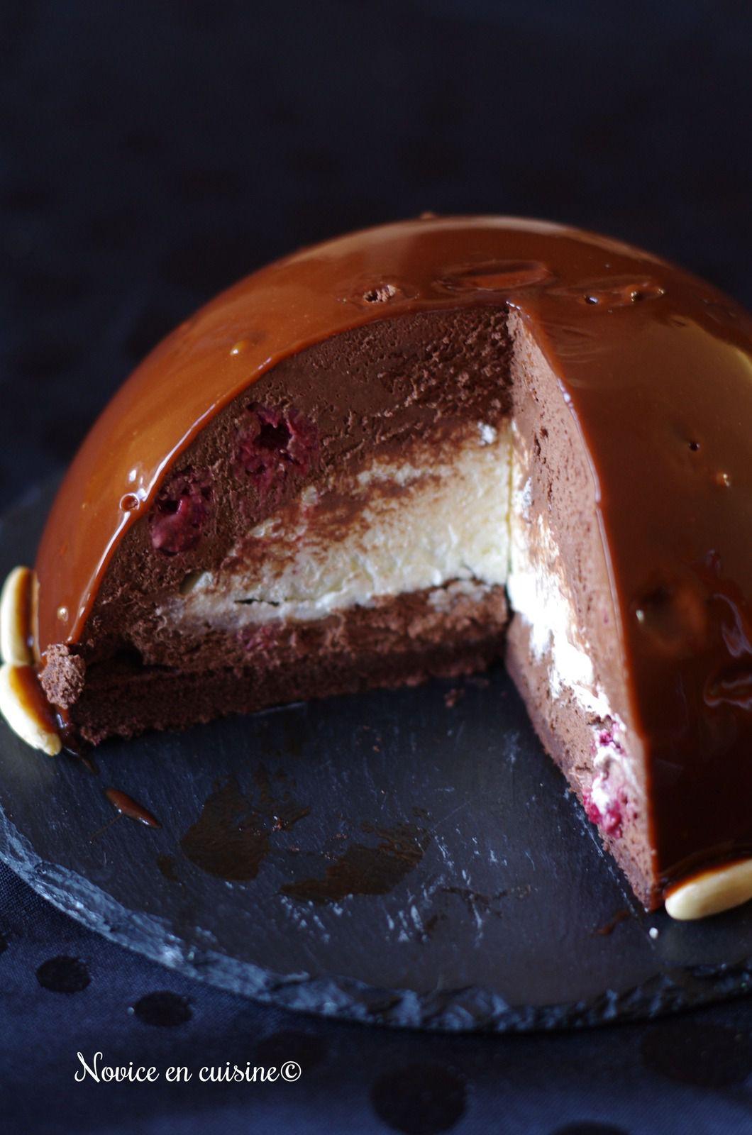 Dôme chocolat/framboises coeur chantilly