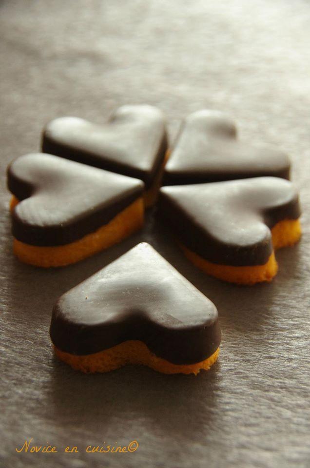 Coeurs de madeleines orange/chocolat