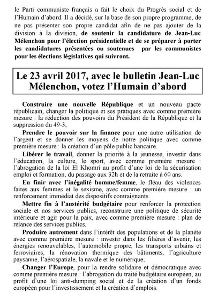 Le vote pour l'Humain d'abord, avec le bulletin Jean-Luc Mélenchon
