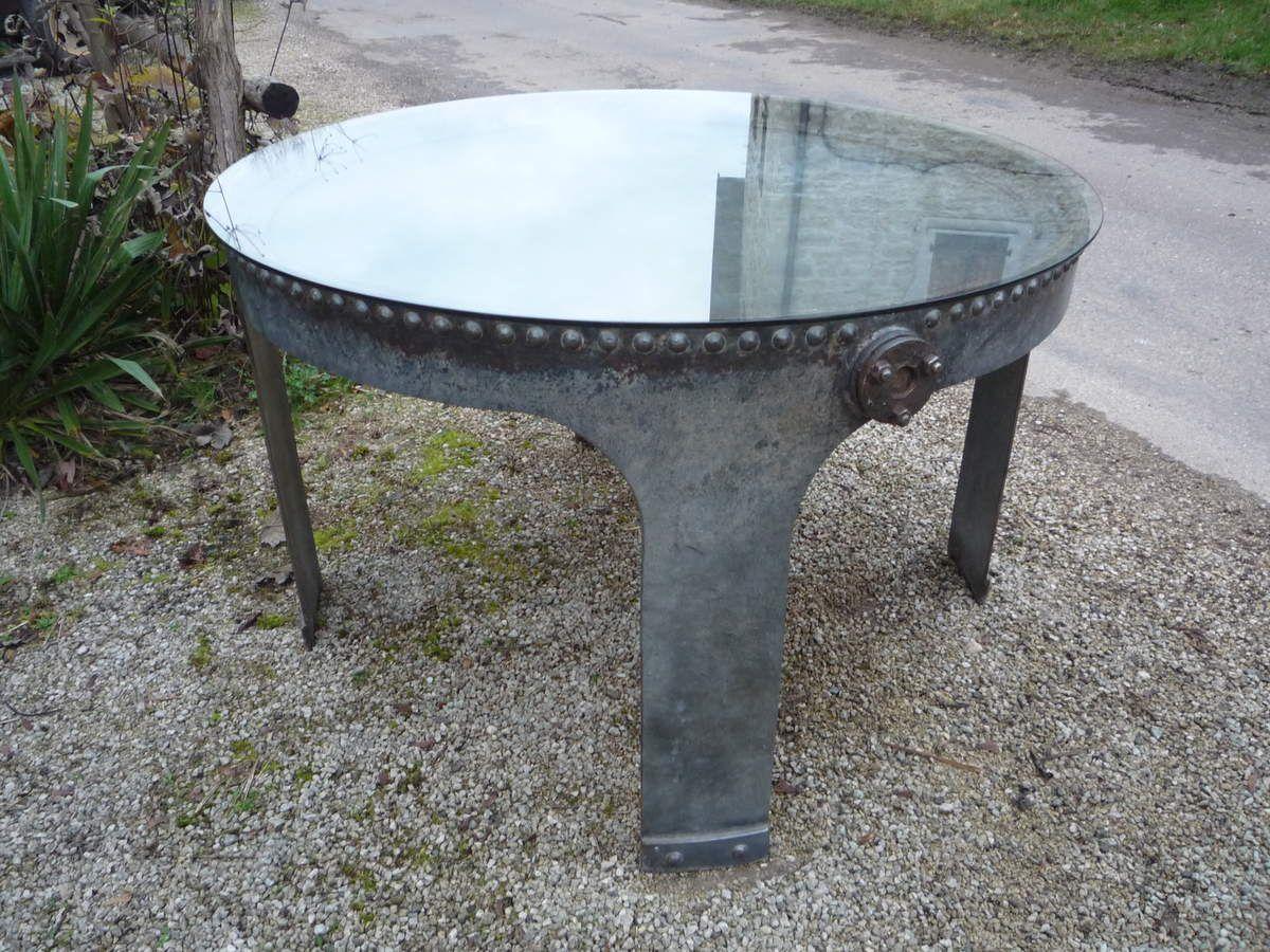 TABLE CUVE RIVETEE INDUSTRIEL ATELIER LOFT 1900-1930