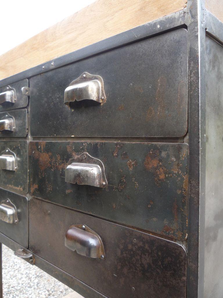 DESSERTE ATELIER 7 TIROIRS METAL PLATEAUX CHÊNE 1950