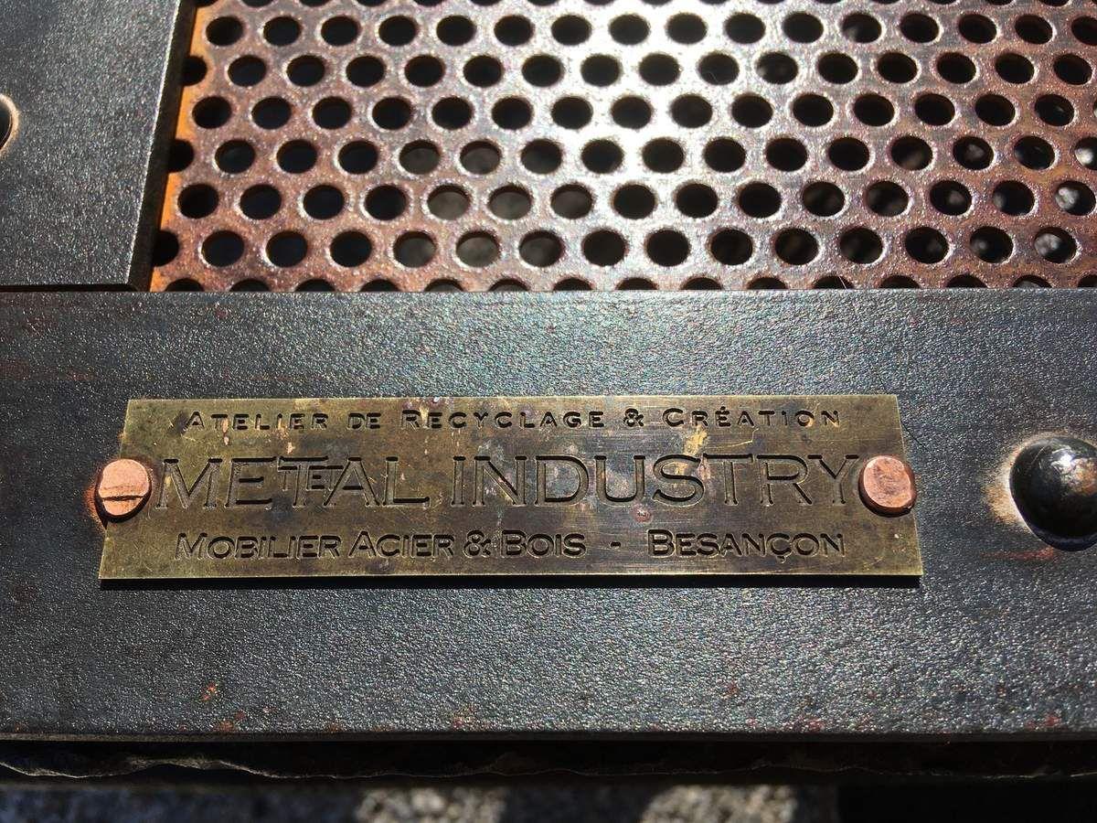 """WAGONNET """"A PETOLAT"""" CHARIOT MINE TABLE BASSE PLATEAU ACIER RIVETE 1900"""