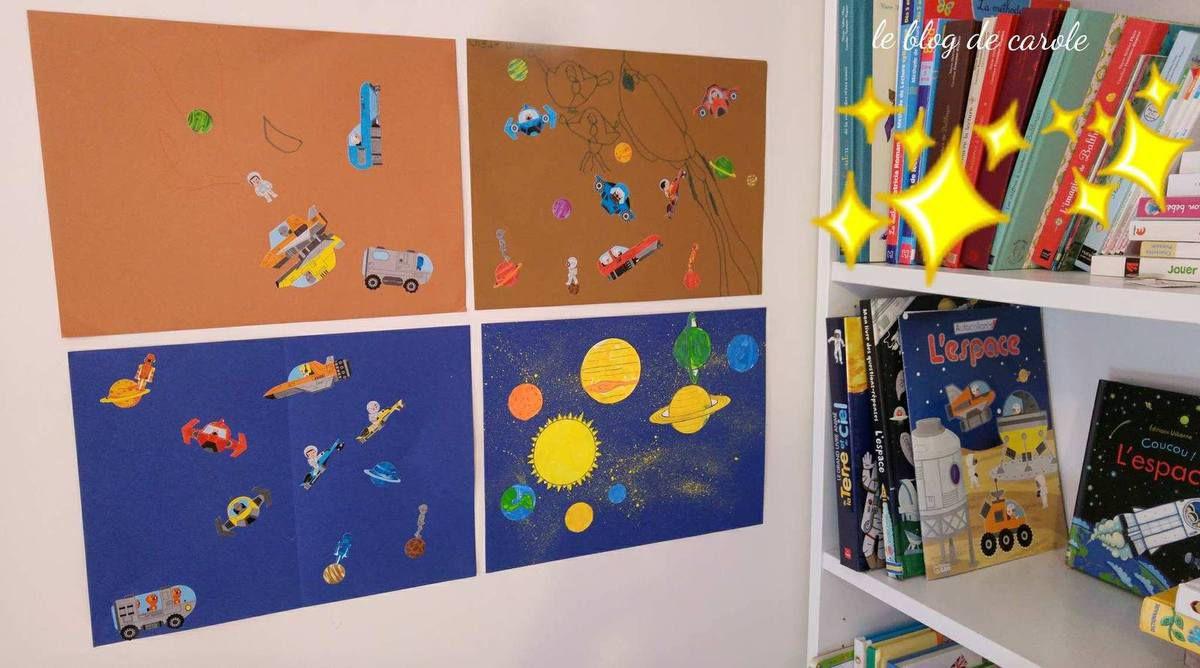 Activités avec des gommettes Lito et peintures Giotto sur le thème de l'espace
