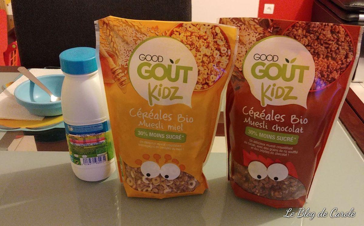 Les céréales bio muesli/miel et muesli/chocolat Good Goût Kidz
