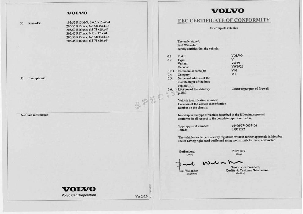 qu est ce qu un certificat de conformit volvo certificat de conformit pour carte grise. Black Bedroom Furniture Sets. Home Design Ideas