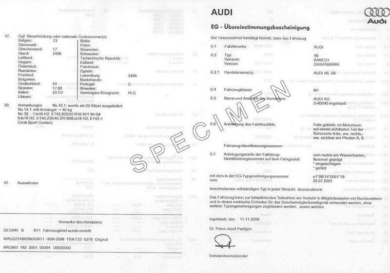 Demande de certificat de conformité Audi