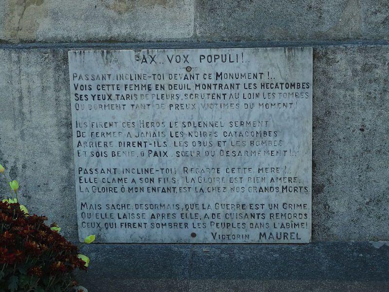 monument aux morts pacifiste de Château-Arnoux-Saint-Auban, poème de Victorin Maurel
