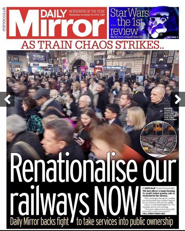La Une d'un quotidien populaire britannique : « Renationalisez le réseau ferroviaire MAINTENANT !»