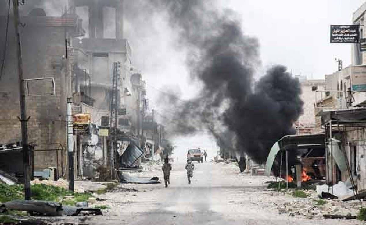 Le 22 mars 2017, dans la ville de Tayyibat al-Imam dans la province d'Alep.Omar Haj Kadour/AFP (source : l'Orient - Le Jour)