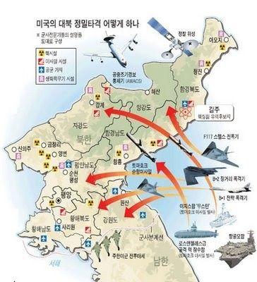 Scénario d'attaque contre la Corée du Nord (source : Solidarity for Peace and Reunification of Korea - http://shinmoongo.net )