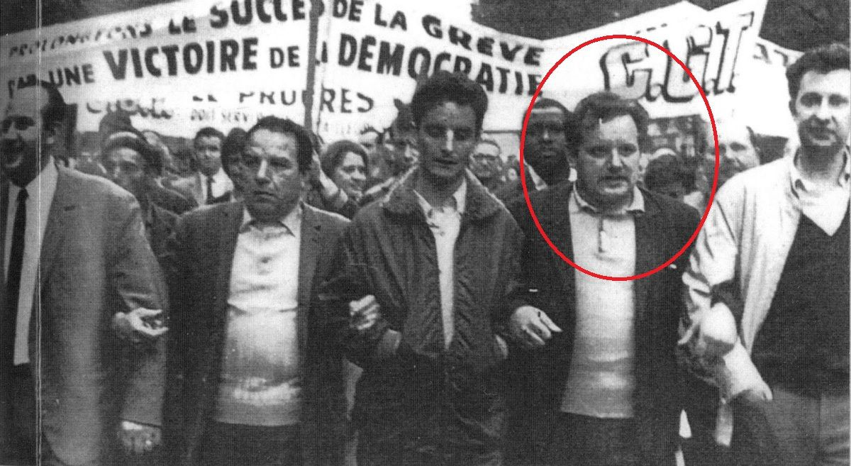 Roger Silvain, en 1968, manifeste avec ses camarades de Renault-Billancourt