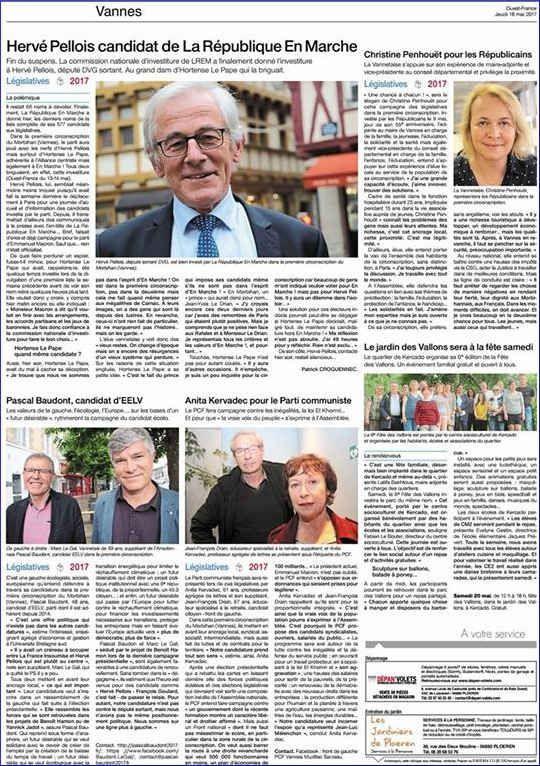 LÉGISLATIVES dans le MORBIHAN : Quand le quotidien « Ouest-France » oublie les candidats de « La France insoumise » …