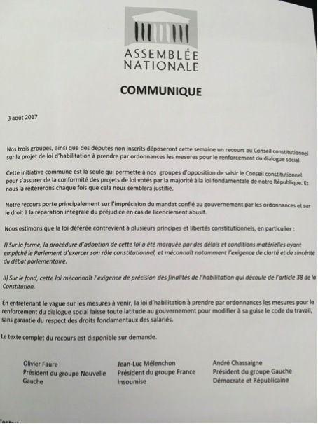 LOI TRAVAIL XXL par ORDONNANCES : Les députés Insoumis, communistes et socialistes saisissent le CONSEIL CONSTITUTIONNEL