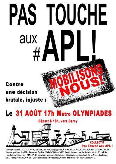 PAS TOUCHE AUX APL : Manifestation à Paris jeudi 31 août 2017