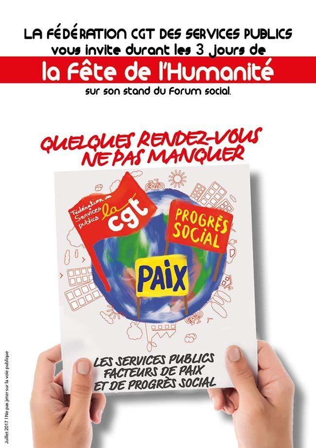 La Fédération CGT des Services publics vous invite durant les 3 jours de la Fête de l'Humanité sur son stand du Forum social