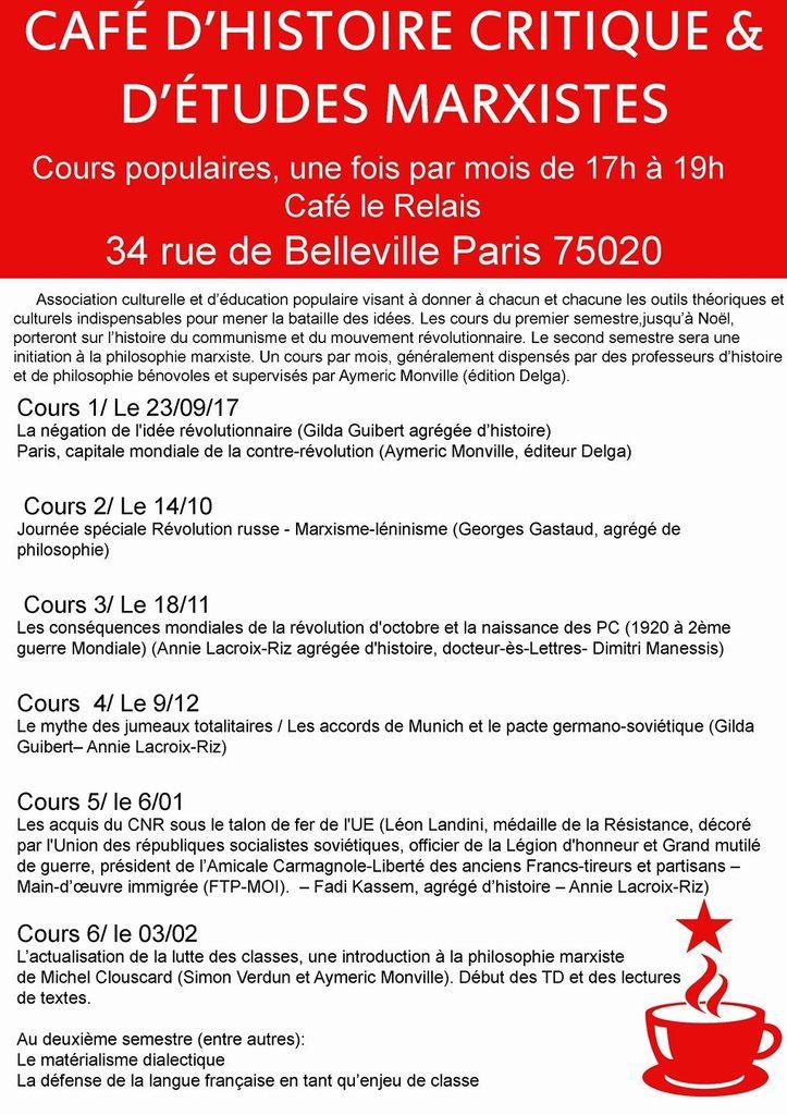 Cours populaires de critiques et d'études marxistes [Café Le Relais - rue de Belleville à Paris]