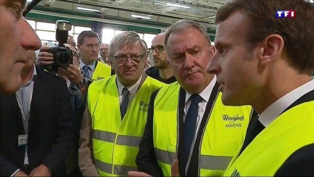 Photo d'illustration : Macron en visite à l'usine Whirlpool  d'Amiens... (capture d'écran)